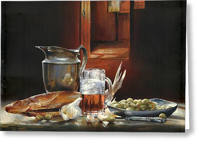 Still life with olives and fish Greeting Card by Victor Mordasov