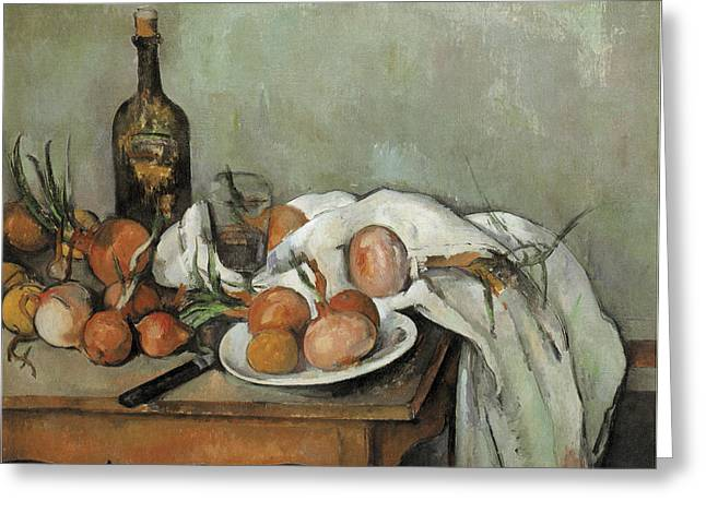 Still-life With Wine Greeting Cards - Still Life with Onions Greeting Card by Paul Cezanne