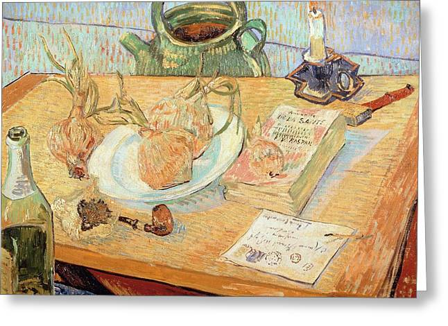 Contemporary Symbolism Greeting Cards - Still life with onions Greeting Card by Vincent van Gogh