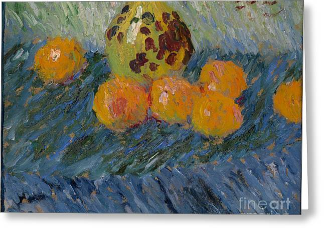 Strength Paintings Greeting Cards - Still Life with Oranges Greeting Card by Celestial Images