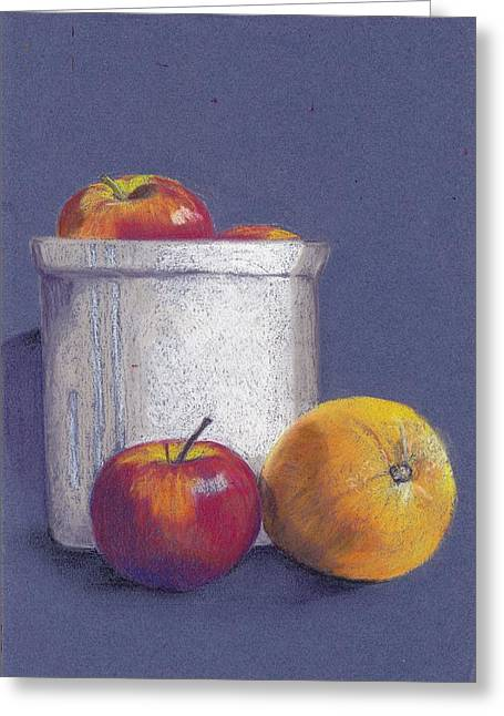 Apple Pastels Greeting Cards - Still life with oranges and apples Greeting Card by Kitty Van den Heuvel
