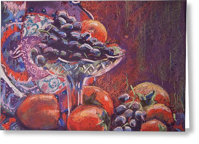 Interior Still Life Pastels Greeting Cards - Still life with persimmon and grapes Greeting Card by Olesya Tarasova