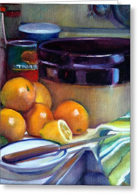 Stoneware Paintings Greeting Cards - Still Life With Oranges And Lemon Greeting Card by Pat Percy