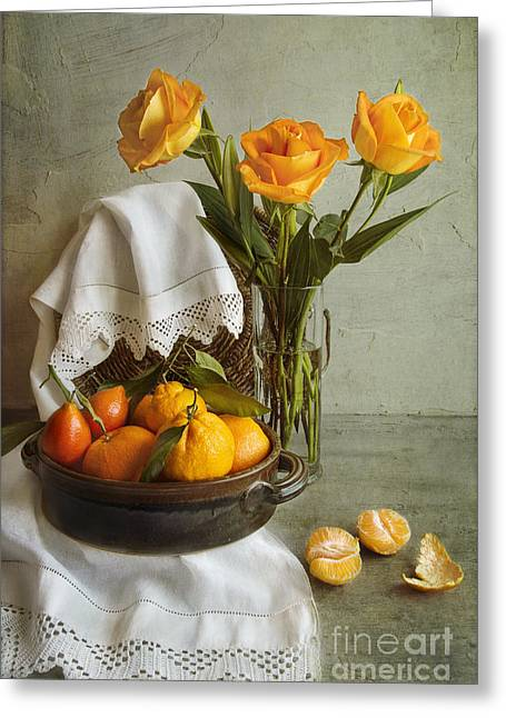 Tabletop Greeting Cards - Still life with oranges Greeting Card by Elena Nosyreva