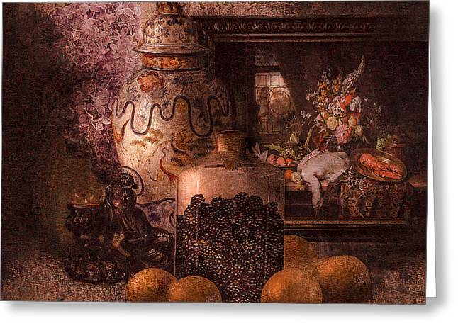 Harvest Art Digital Art Greeting Cards - Still life with oranges and blackberries and lilacs Greeting Card by Jeff Burgess