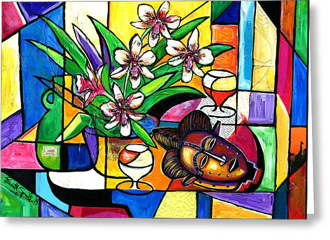 Still Life With Orchids And African Mask Greeting Card by Everett Spruill