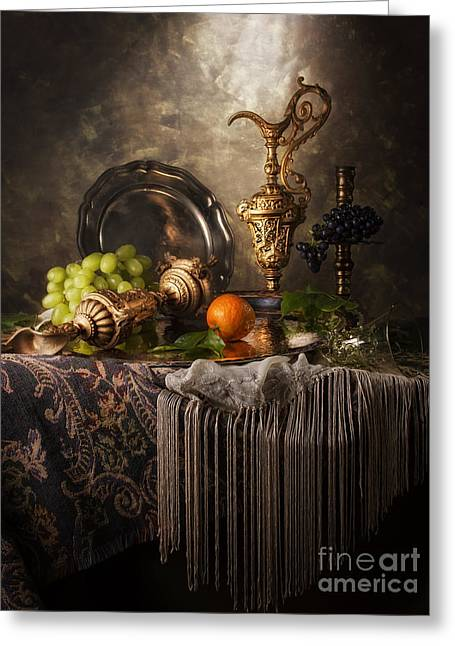 Overturn Greeting Cards - Still Life with Ornamental Ewers Greeting Card by Jon Wild