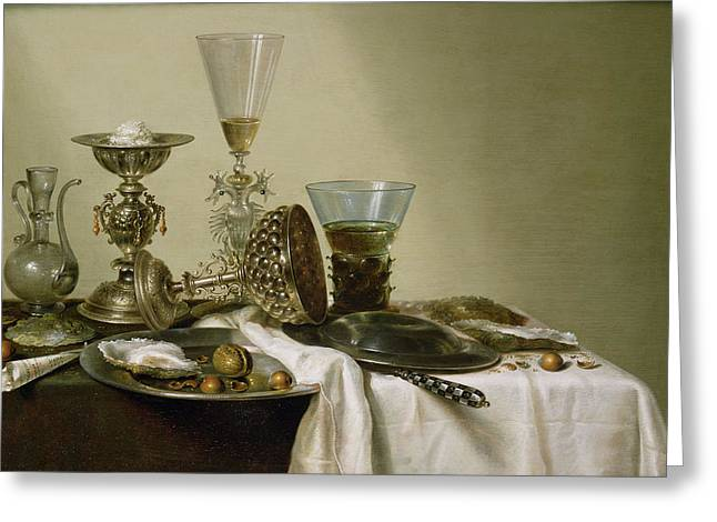 Condiment Greeting Cards - Still Life With Oysters And Nuts, 1637 Oil On Panel Greeting Card by Willem Claesz. Heda