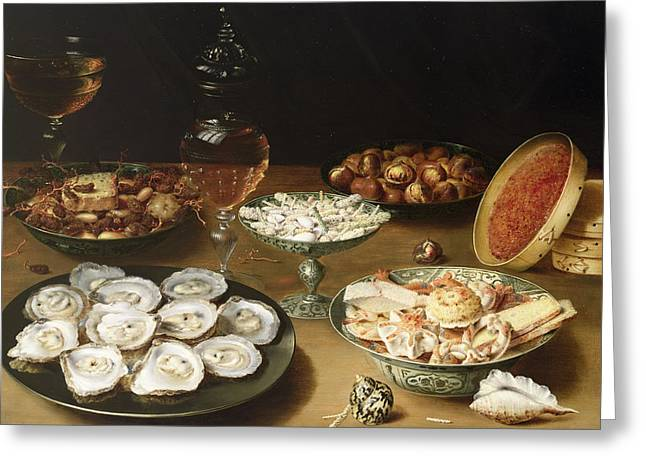 Goblet Greeting Cards - Still life with oysters Greeting Card by Osias the Elder Beert