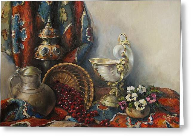 Pansies Greeting Cards - Still-life with pansies Greeting Card by Tigran Ghulyan