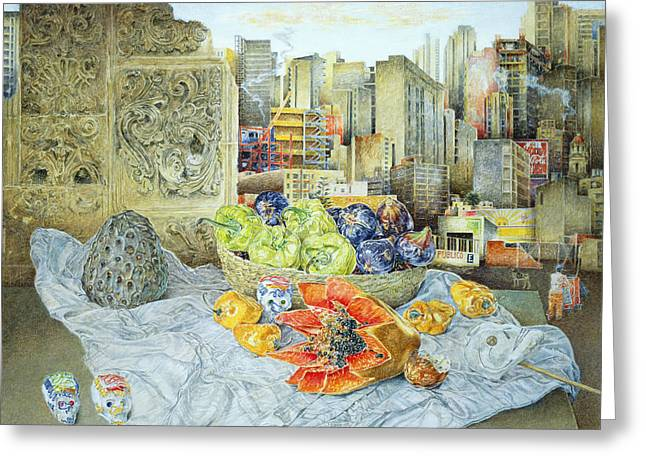 Exotic Fruit Greeting Cards - Still Life With Papaya And Cityscape, 2000 Oil On Canvas Greeting Card by James Reeve