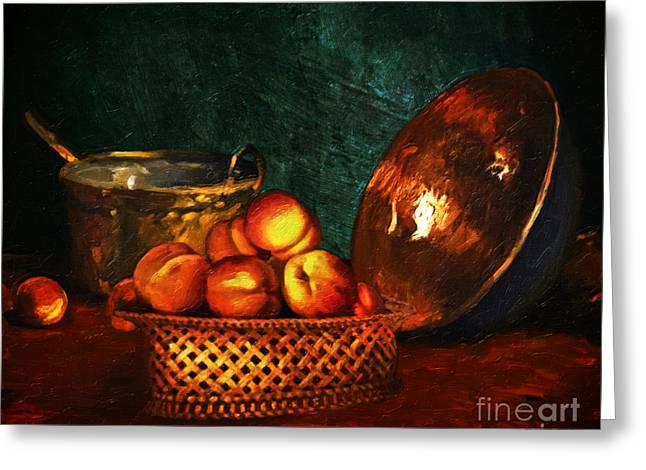 Brass Pot Greeting Cards - Still Life With Peaches and Copper Bowl Greeting Card by Lianne Schneider