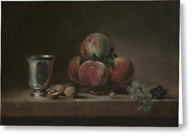 Chardin Greeting Cards - Still Life With Peaches Greeting Card by Jean Simeon Chardin