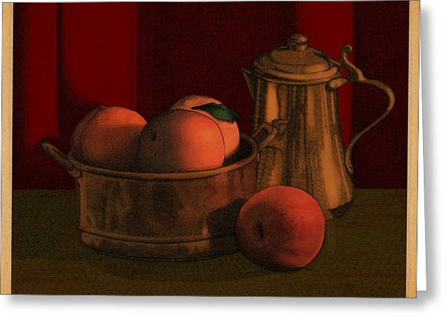 Copper Greeting Cards - Still Life with Peaches Greeting Card by Meg Shearer