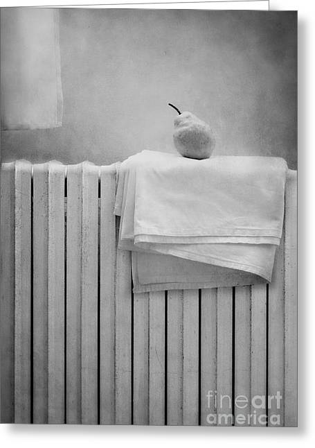 Grey Fine Art Greeting Cards - Still life with pear Greeting Card by Diana Kraleva