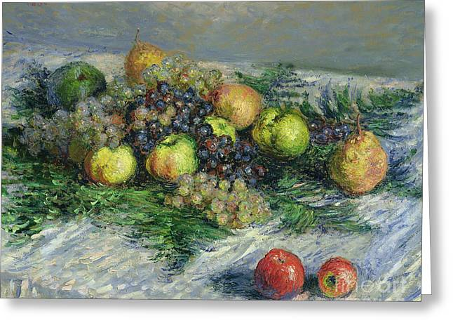 Pears Greeting Cards - Still Life with Pears and Grapes Greeting Card by Claude Monet