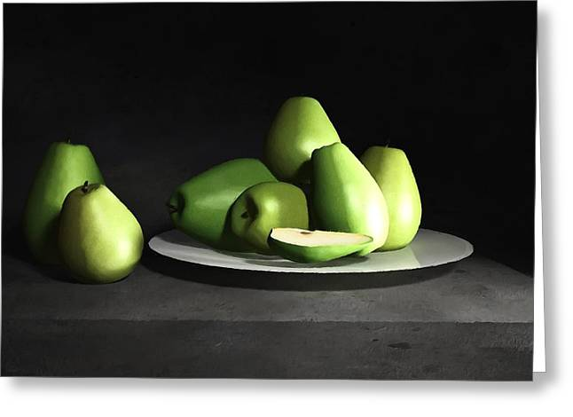 Still Life With Pears Greeting Cards - Still Life with Pears Greeting Card by Cynthia Decker