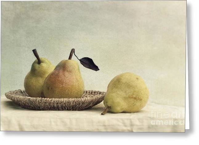 Pears Greeting Cards - Still Life With Pears Greeting Card by Priska Wettstein