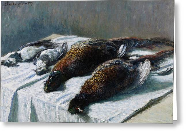 Spoiled Greeting Cards - Still life with pheasants and plovers Greeting Card by Claude Monet