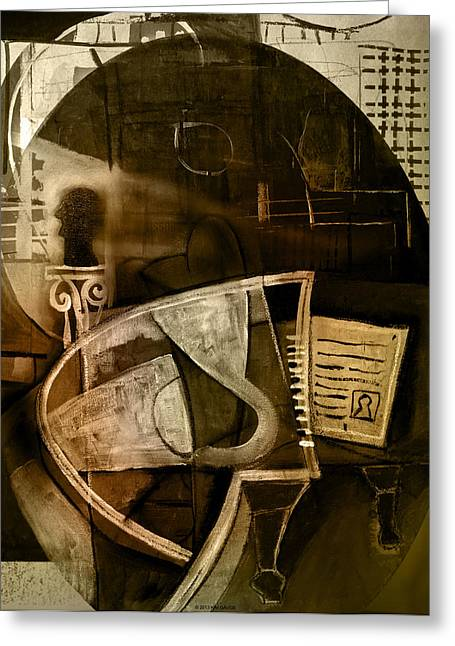 Pablo Mixed Media Greeting Cards - Still life with piano and bust Greeting Card by Kim Gauge