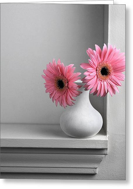 Still Life With Pink Gerberas Greeting Card by Krasimir Tolev