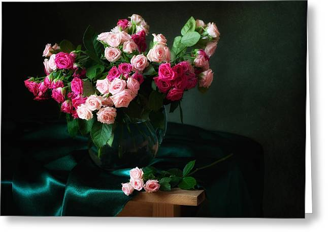 Flower Still Life Prints Greeting Cards - Still life with pink Roses  Greeting Card by Alina Lankina