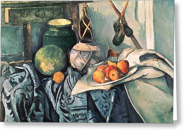 Watermelon Greeting Cards - Still Life With Pitcher And Aubergines Oil On Canvas Greeting Card by Paul Cezanne
