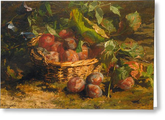 Still-life With A Basket Greeting Cards - Still Life With Plums In A Basket Greeting Card by Geraldine Jacoba Van De Sande Bakhuyzen