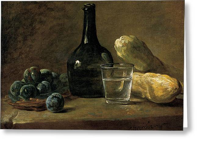 Fine Bottle Greeting Cards - Still Life with Plums Greeting Card by Jean-baptiste-Simeon Chardin
