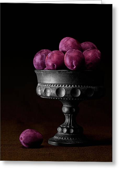 Compote Greeting Cards - Still Life with Plums Greeting Card by Tom Mc Nemar