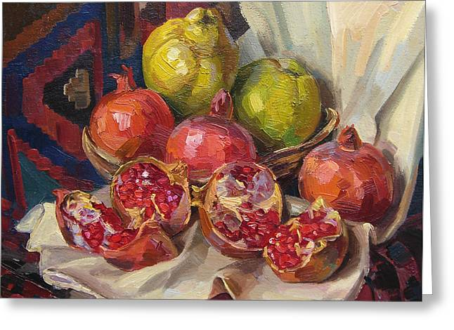 Quince Greeting Cards - Still life with pomegranates and quinces Greeting Card by Meruzhan Khachatryan
