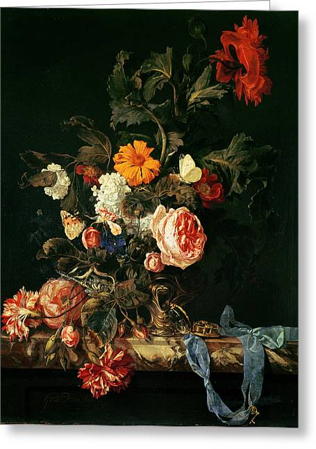 Ribbon Greeting Cards - Still Life With Poppies And Roses Greeting Card by Willem van Aelst