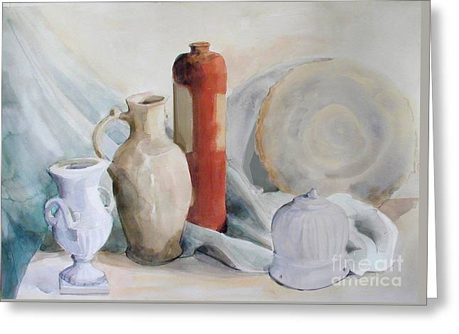 Still Life With Pottery And Stone Greeting Card by Greta Corens