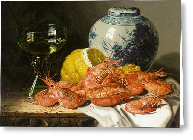 Fruit And Wine Digital Greeting Cards - Still Life With Prawns And Lemon Greeting Card by Edward Ladell