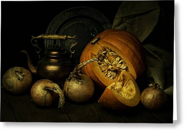 Lead The Life Greeting Cards - Still life with pumpkin and onions Greeting Card by Jaroslaw Blaminsky
