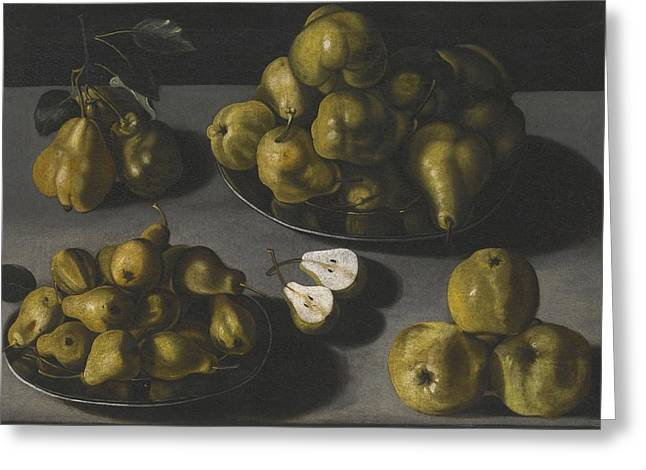 Still Life With Pears Greeting Cards - Still Life With Quinces And Pears Arranged On A Stone Table Top Greeting Card by Spanish School