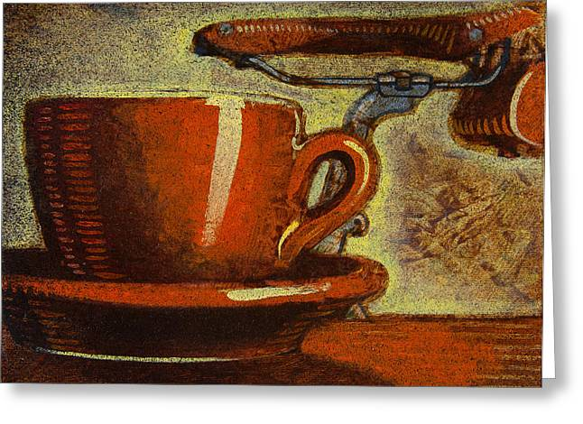 Still life with racing bike Greeting Card by Mark Howard Jones