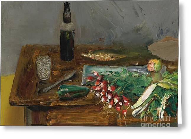 Strength Paintings Greeting Cards - Still Life With Radishes Greeting Card by Celestial Images