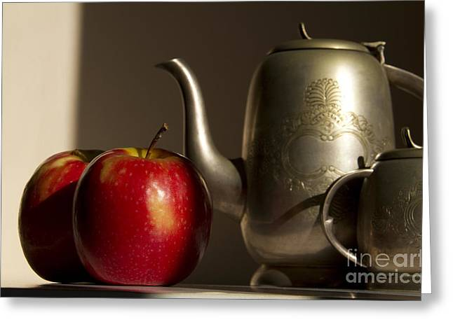 Oriental Teapot Greeting Cards - Still Life with Red Apples Greeting Card by Rita Kapitulski