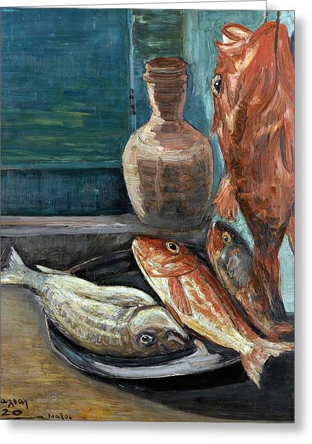 Red Snapper Greeting Cards - Still Life with Red Snapper. Naxos Greeting Card by Konstantinos Maleas