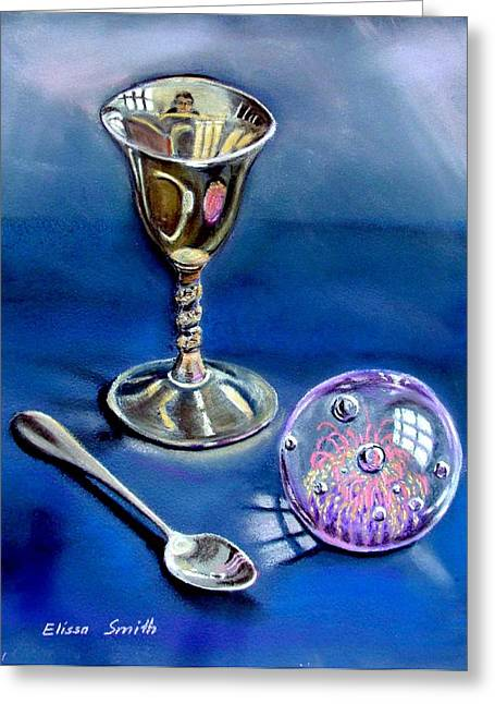 Goblet Pastels Greeting Cards - Still Life With Reflections Greeting Card by Elissa Smith