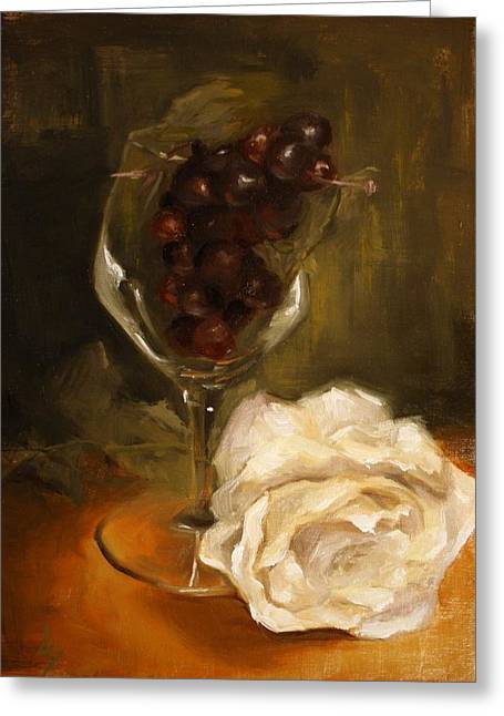 Still Life With Rose Greeting Card by Alison Schmidt Carson