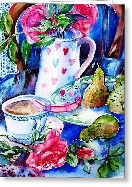 Interior Still Life Paintings Greeting Cards - Still Life with Roses  Greeting Card by Trudi Doyle