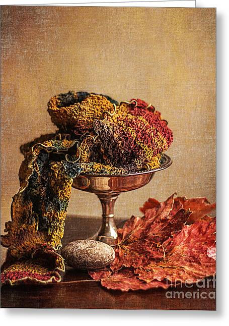 Compote Greeting Cards - Still Life with Scarf Greeting Card by Terry Rowe