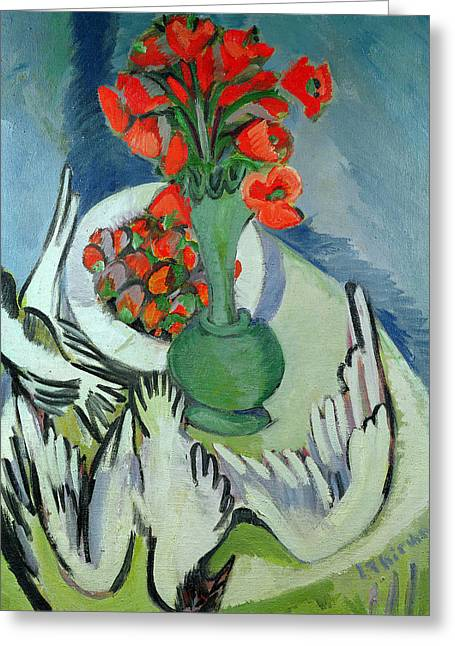 Ernst Greeting Cards - Still Life with Seagulls Poppies and Strawberries Greeting Card by Ernst Ludwig Kirchner