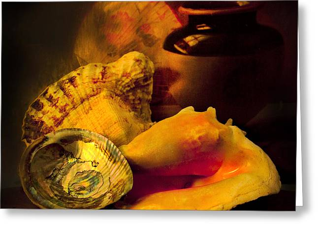 Abalone Greeting Cards - Still Life With Shells Greeting Card by Theresa Tahara