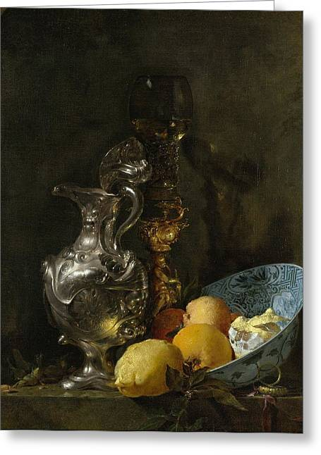 Still Life With Old Pitcher Paintings Greeting Cards - Still life with silver pitcher Greeting Card by Willem Kalf
