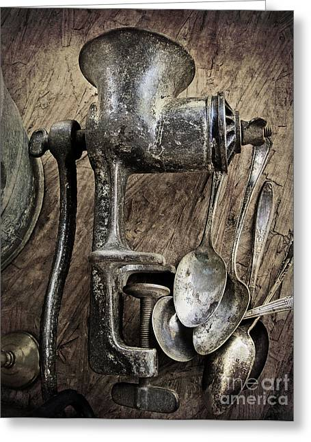Old Grinders Digital Art Greeting Cards - Still life with silverware Greeting Card by Elena Nosyreva