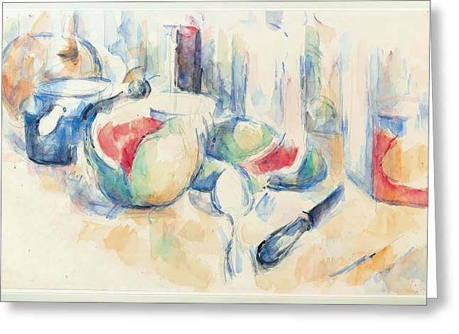 Still Life With Watermelon. Greeting Cards - Still Life with Sliced Open Watermelon Greeting Card by Paul Cezanne