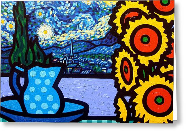 Vincent Paintings Greeting Cards - Still Life With Starry Night Greeting Card by John  Nolan
